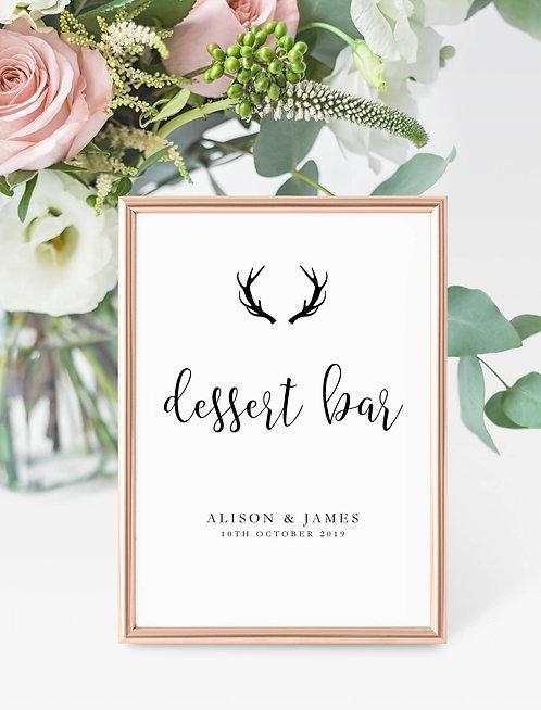Antler design personalised 'Dessert Bar' sign-UNFRAMED