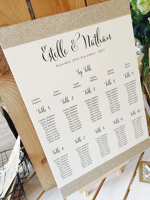 Estelle gold glitter trim A3 Wedding Seating/Table plan