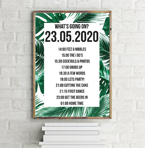 Personalised TropicalPortrait A1 Wedding Time line/Order of Day Guest informatio