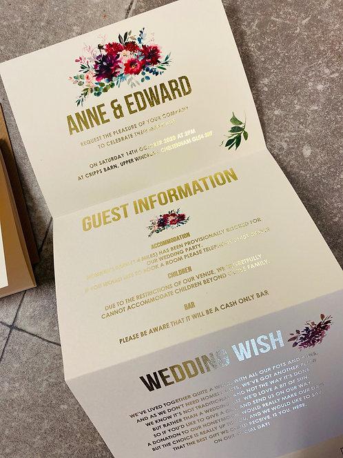Concertina gold foil floral 'Anne' Wedding Invitation/card Sample