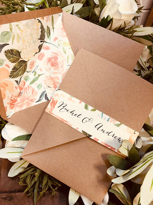 Rachel pocket Wedding Invitation with floral envelope liner