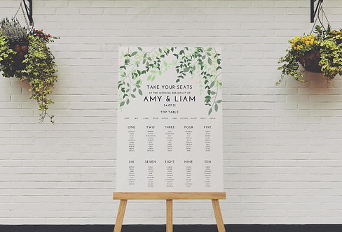 Amy A1 Wedding Seating/Table plan(without easel)