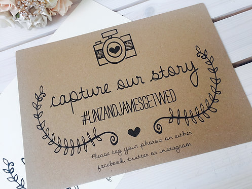 A4 Wedding 'Capture our Story' Instagram/facebook/twitter sign