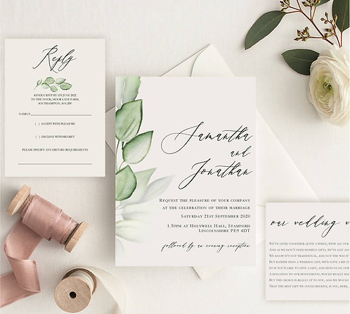 Samantha Wedding Invitation sample including RSVP and wish card