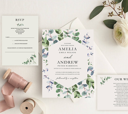 Amelia Wedding Invitation sample including RSVP & Wish Card