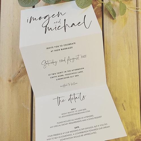 Modern Calligraphy style Concertina Wedding Invitation Sample, 'imogen'