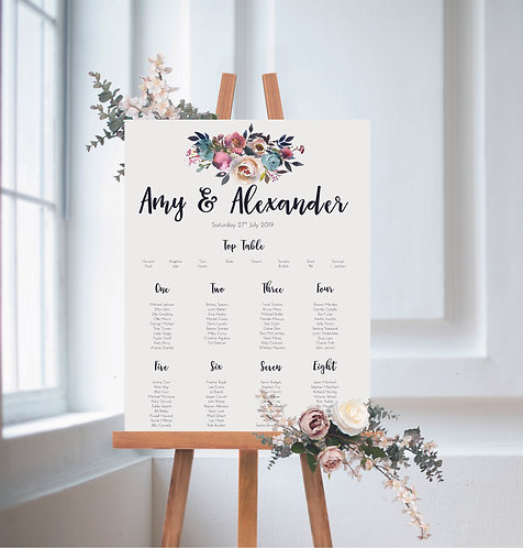 Amy floral A1 Wedding Seating/Table plan