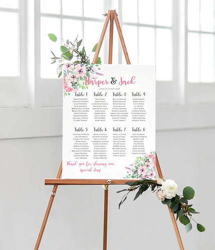 Harper Floral A2 Wedding Seating/Table plan