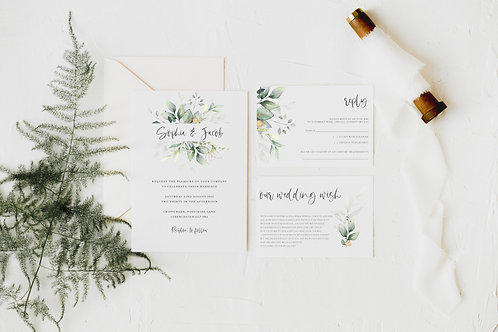 Classic Modern Botanical, Greenery, leafy, Wedding Invitation set 'Sophia'