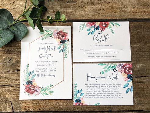 Jennifer Geometric Floral Wedding Invitation, RSVP & wish card