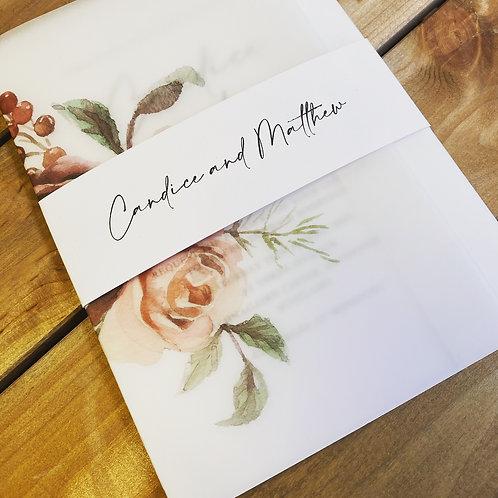 Candice vellum floral invitation white card set SAMPLE