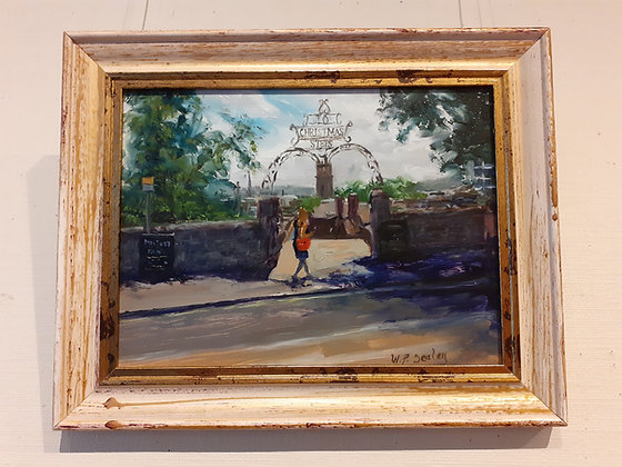 Framed Oil Painting of the top of Christmas Steps, Bristol