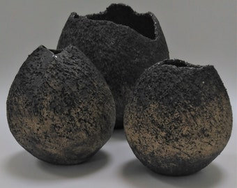 Three Coiled Pots - Natural Forms