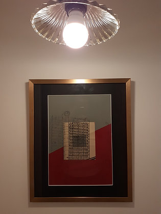 Framed original drawing of Bristol's Beacon Tower on red/grey