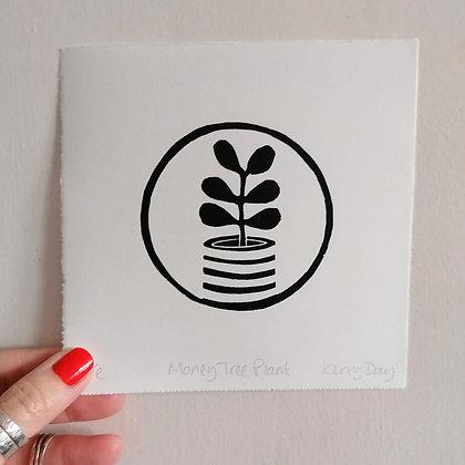 Money Tree Plant Lino Print