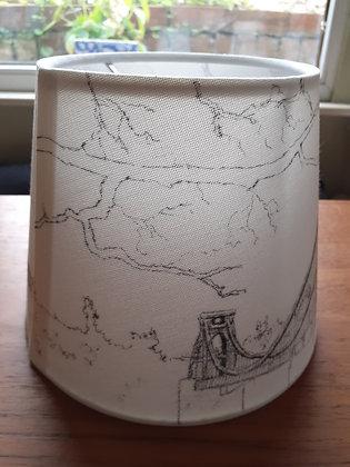 Hand-drawn lampshade of Clifton Suspension Bridge