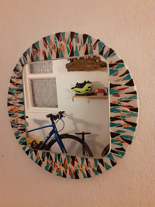 Square Mirror with round Mosaic surround