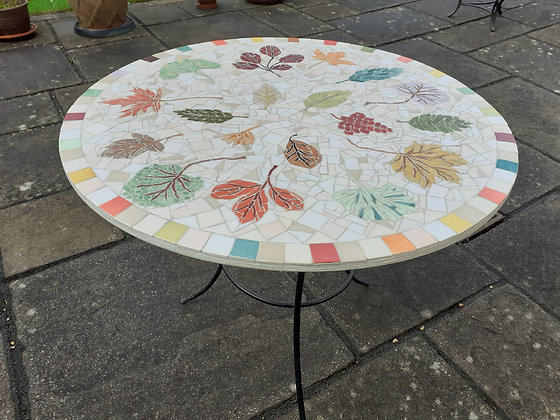 Leaf-design Mosaic Round Table