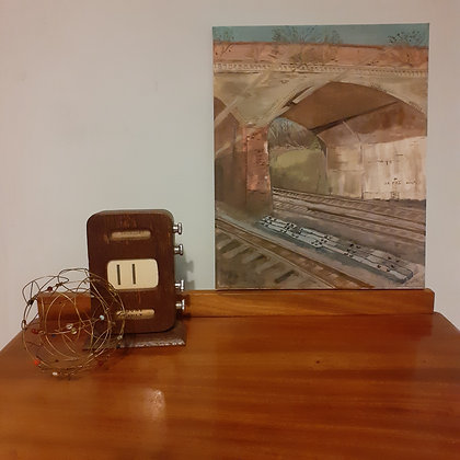 Oil painting of a Railway Bridge