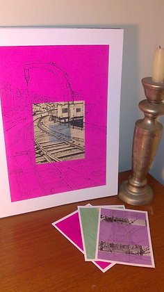 Art Print Fairbairn Steam Crane on fuschia