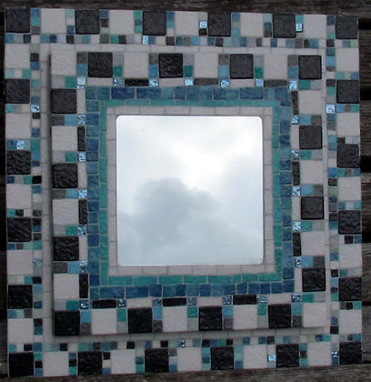 Square Mirror with Mosaic chequerboard surround