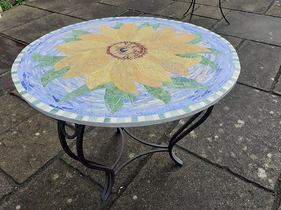 Round Sunflower Mosaic Table
