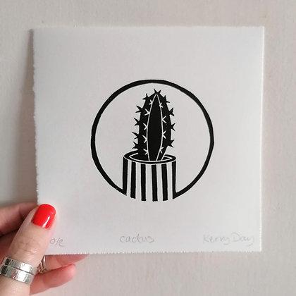 Black and White Cactus Lino Print