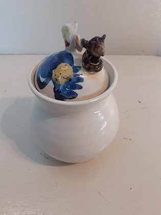 The Owl and The Pussycat lidded pot (blue and white colourway)
