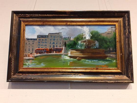 Framed Oil Painting of Trafalgar Square, London