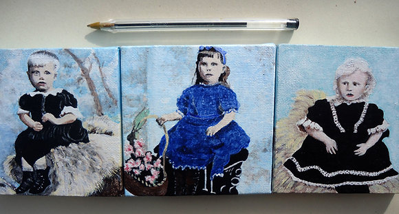 'Unknown Girls 1, 2 & 3' Acrylic Triptych on canvas