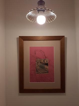 Framed original drawing of Fairbairn Steam Crane on fuschia