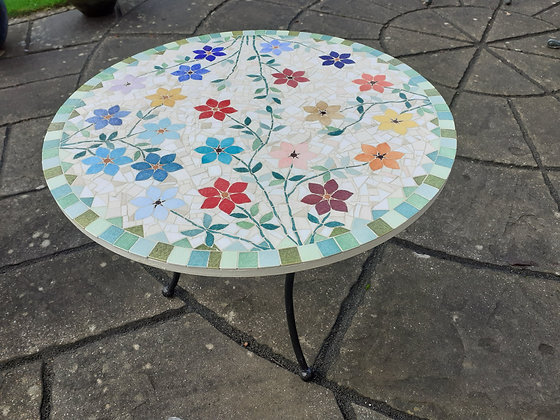 Floral Round Mosaic Table