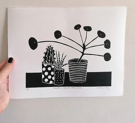 Cactus, Zebra and Pilea Black and White Lino Print