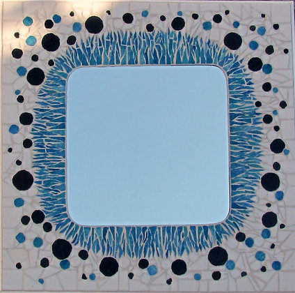 Square Mirror with spotty Mosaic surround