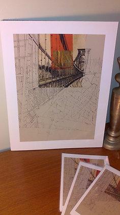 Art Print of Clifton Suspension Bridge - portrait view