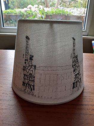 Hand-drawn lampshade featuring Bristol's harbourside cranes