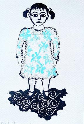 'On Dark Cloud Days Wear A Butterfly Dress' Lino Cut Print