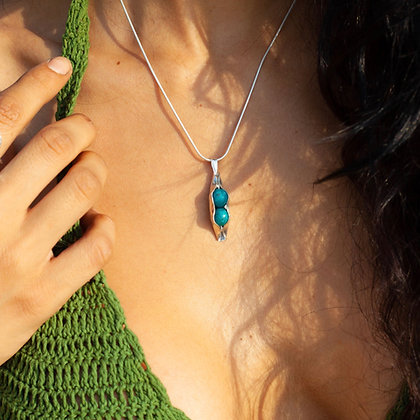 Two Peas-in-a-Pod Sterling Silver Necklace with Turquoise Stones