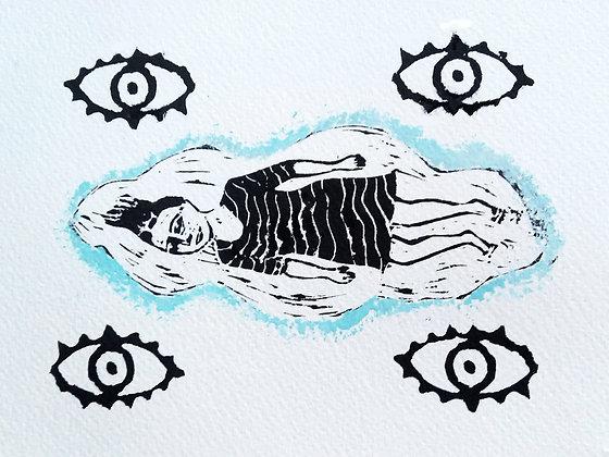 'Dreamwatchers' Lino Cut Print