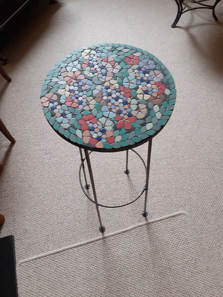 Tall, round Mosaic Plant Stand