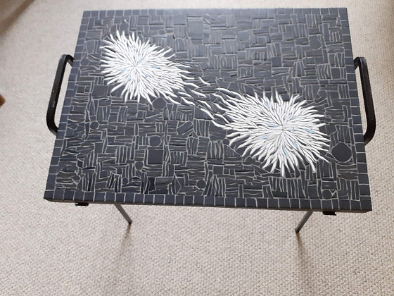 Black and White Mosaic Tray Table