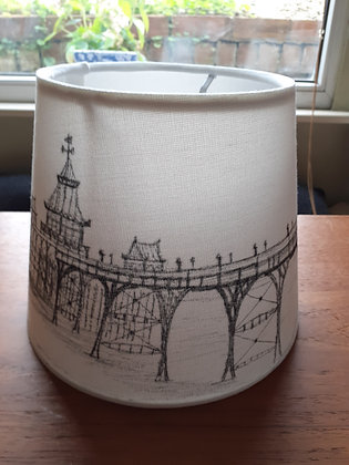 Hand-drawn lampshade of Clevedon Pier