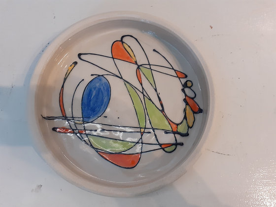 Abstract design on a Stoneware Dish