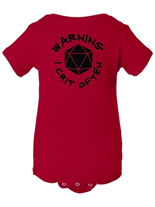 """Warning: I Crit Often"" Baby Onesie"