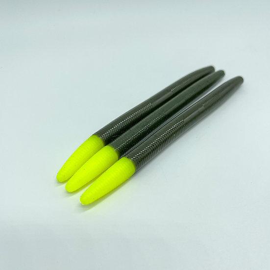 """5"""" Stick Bait (Green Pumpkin Chartreuse Tip)"""