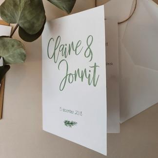 Trouwkaart Claire en Jorrit