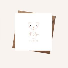 Geboortekaartje Mila met beer