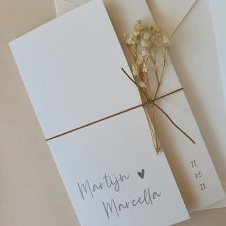 Trouwkaart Martijn en Marcella
