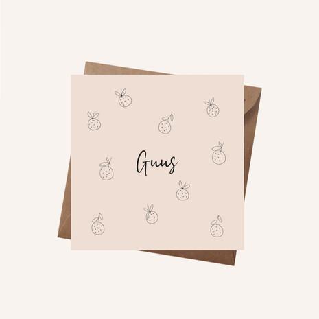 Geboortekaartje Guus met fruit