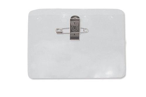 Badge Holder, Clear Vinyl Name Badge Holder W/Pin-Clip Combo